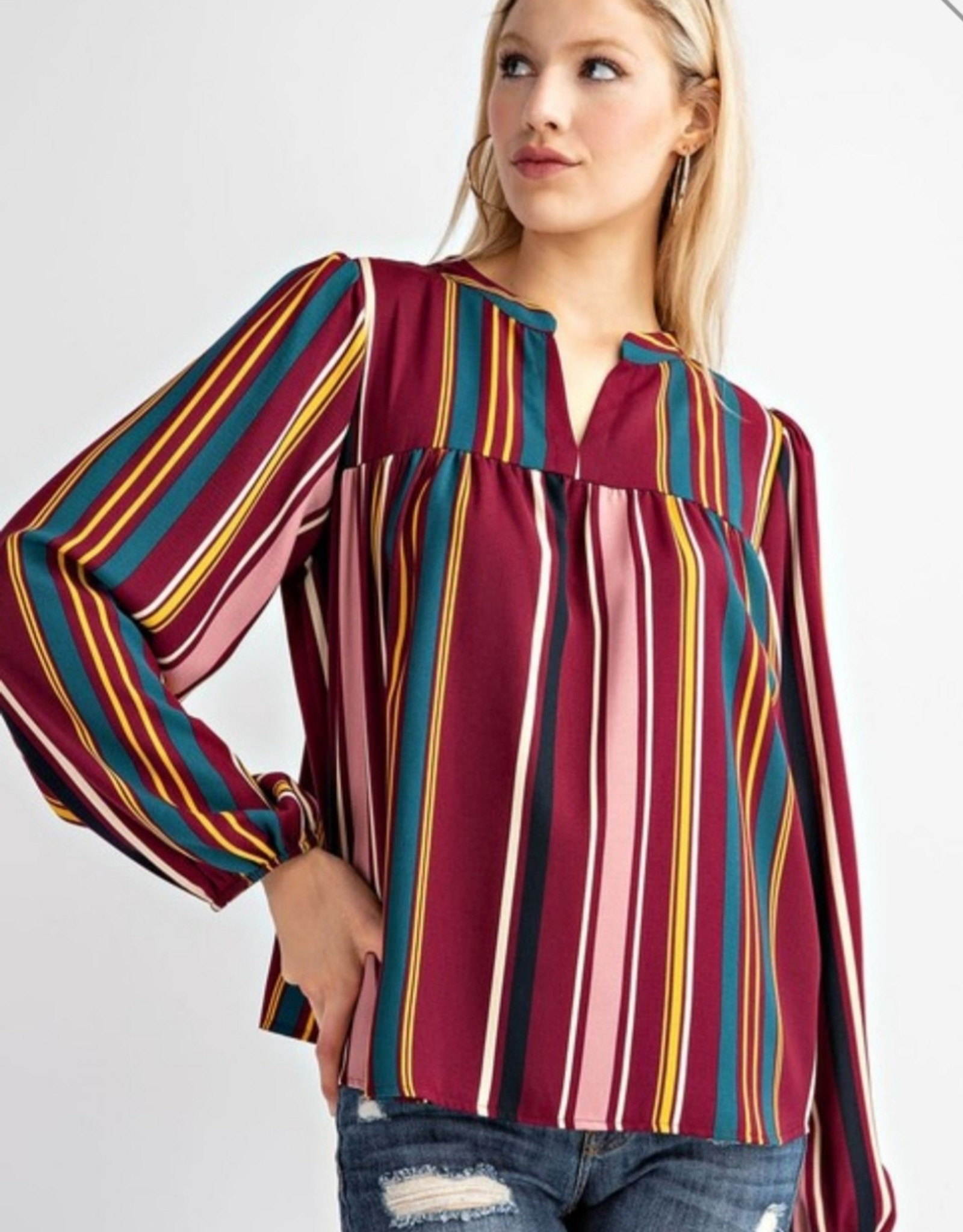 multi color vertical stripe top
