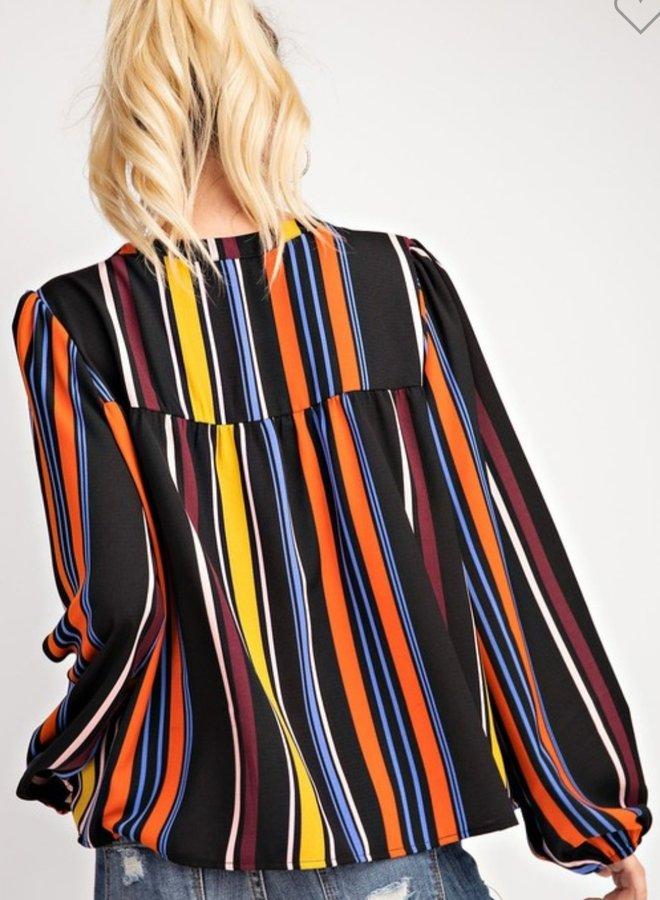 multi color vertical stripe top