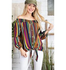 vertical stripe elastic top