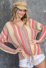 vertical stripe v neck top