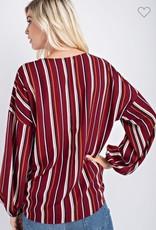 vertical stripe v neck top