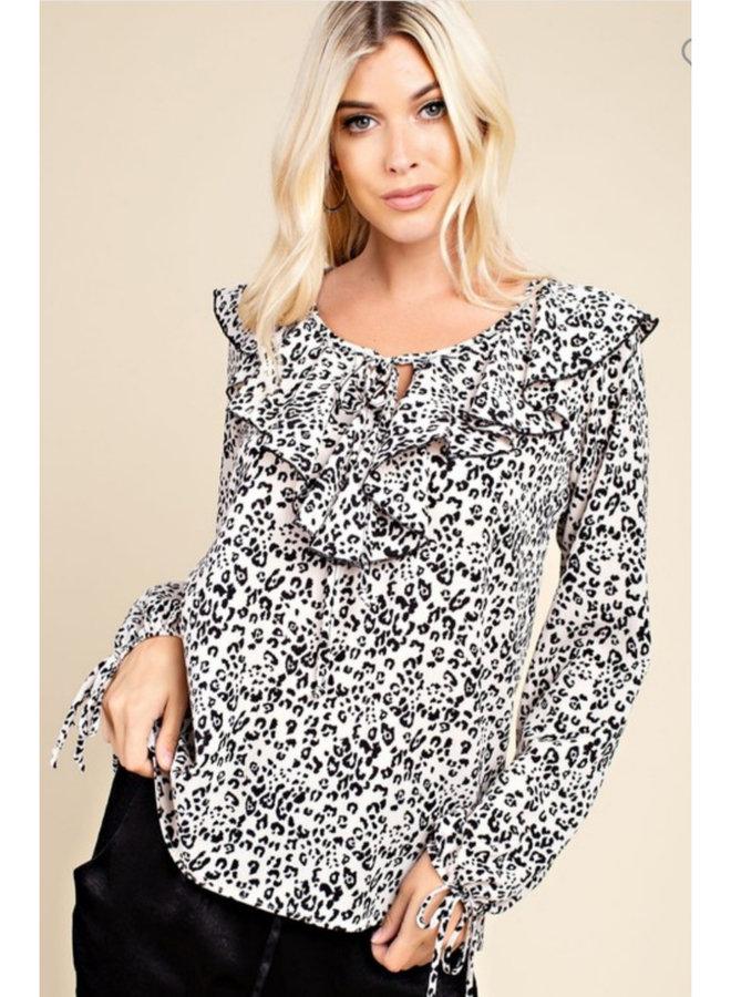 leopard ruffle top