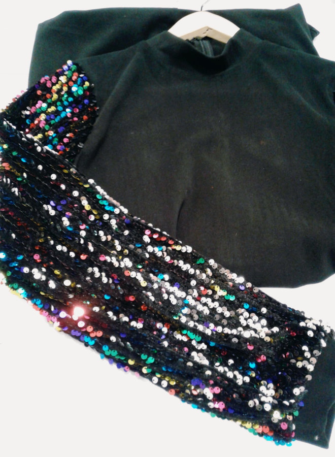 basic black dress with sequins
