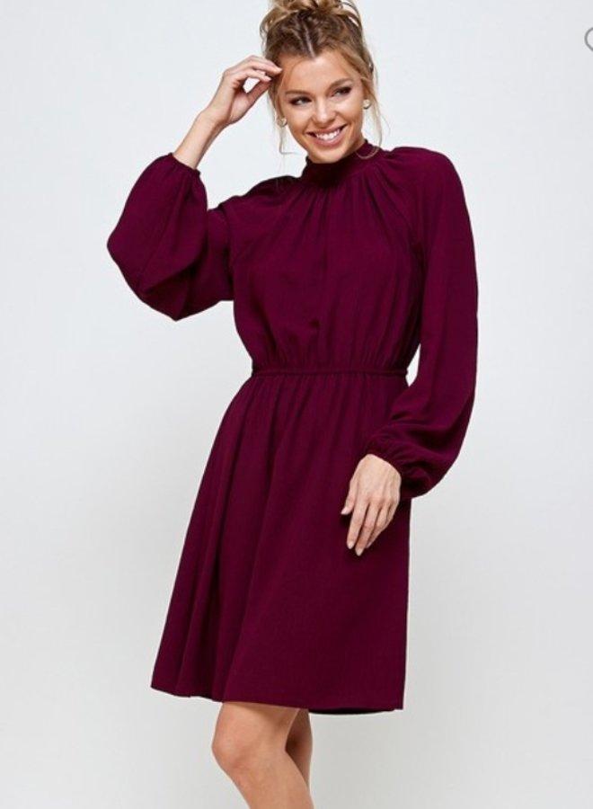 high neck back tie long sleeve elastic waist dress