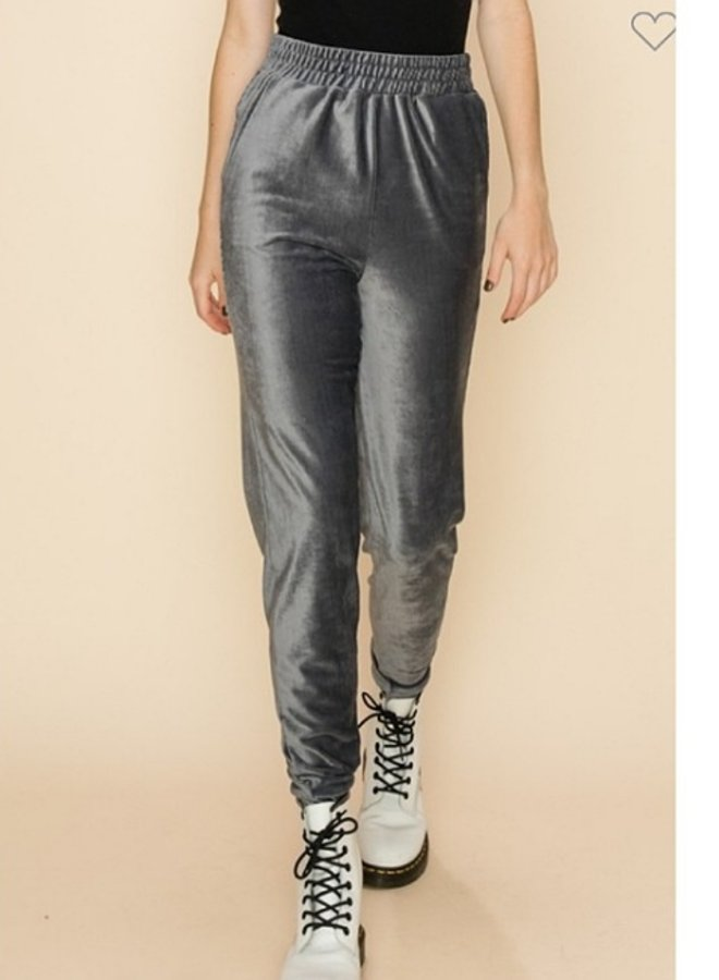 velour jogger pants with pockets