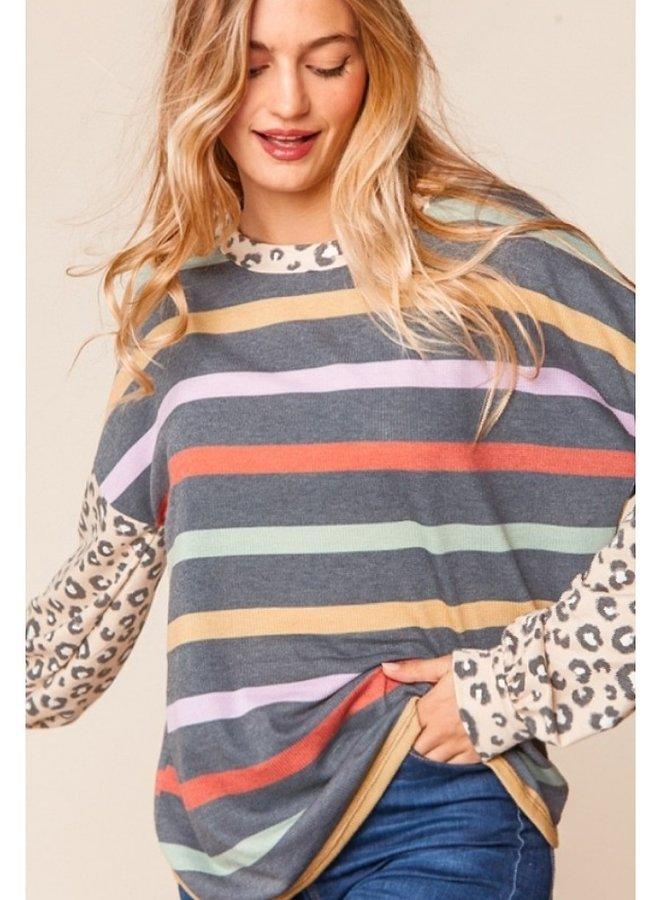 multi color stripe top