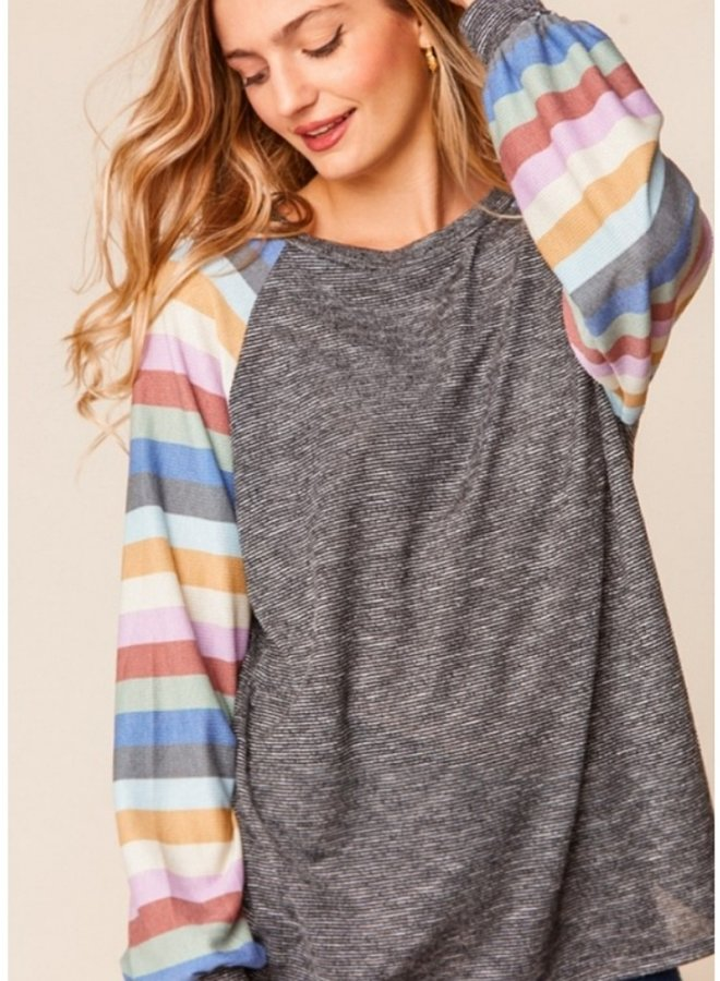 two tone stripe raglan top