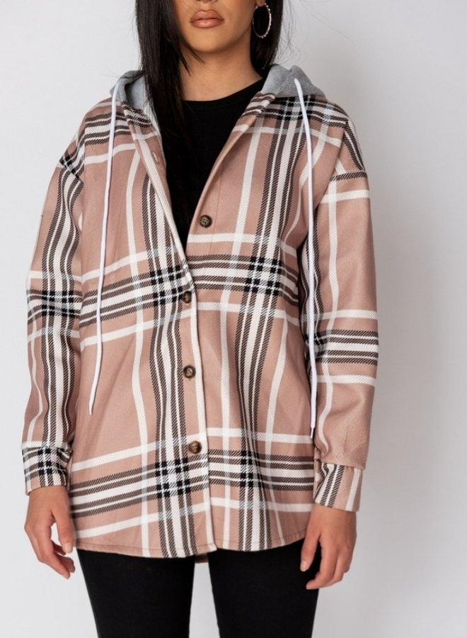 beige check oversize hooded jacket