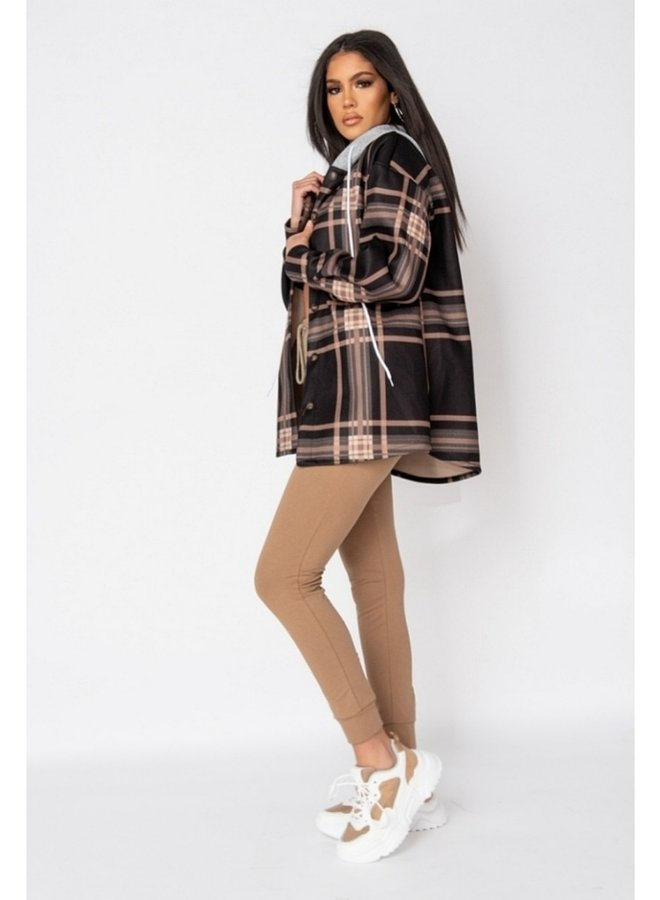 black check oversize hooded jacket