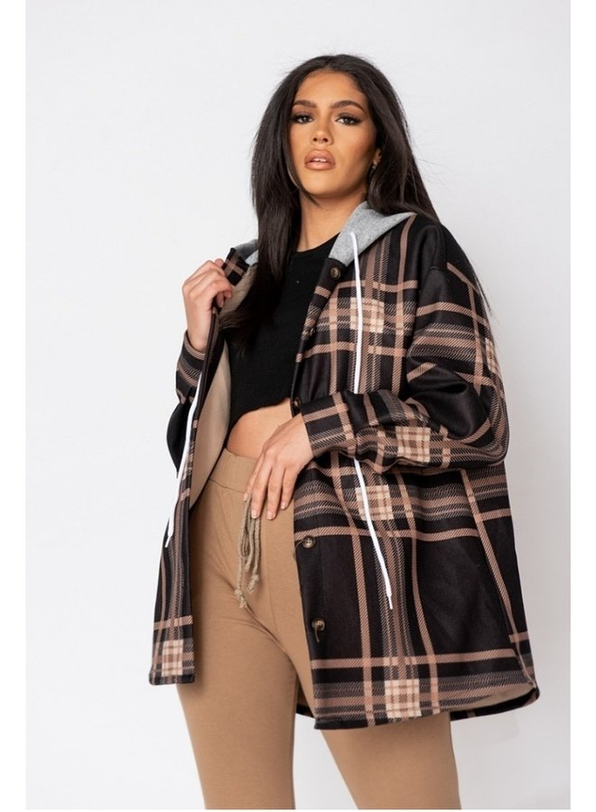 black check oversize hooded jacket