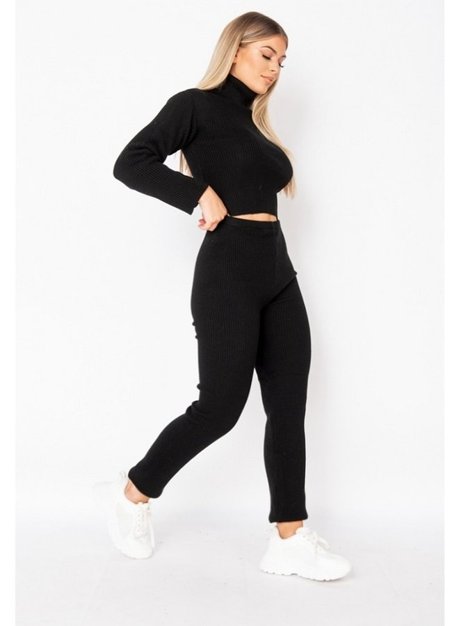 rib knit loungewear set