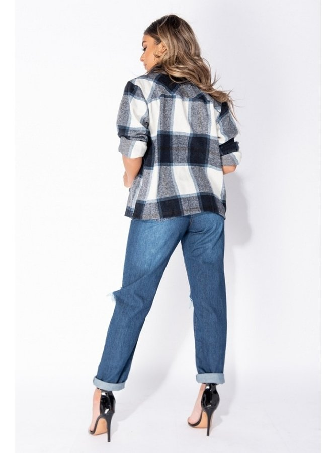 brushed check button front shirt jacket