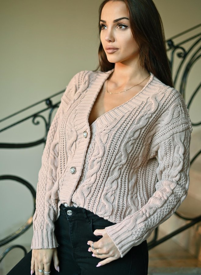 knitted button detail cardigan
