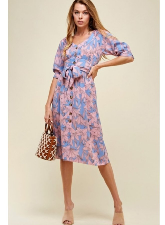 button up floral dress