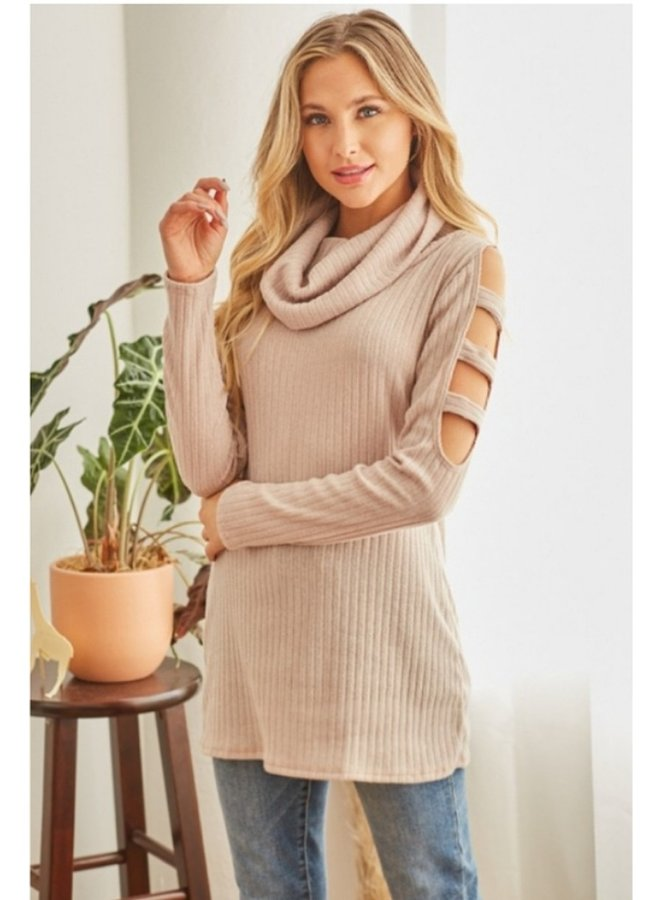 solid cut out shoulder ribbed  cowl neck sweater