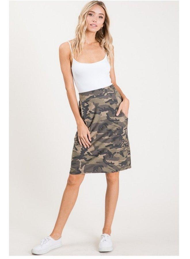 camo print knee length skirt