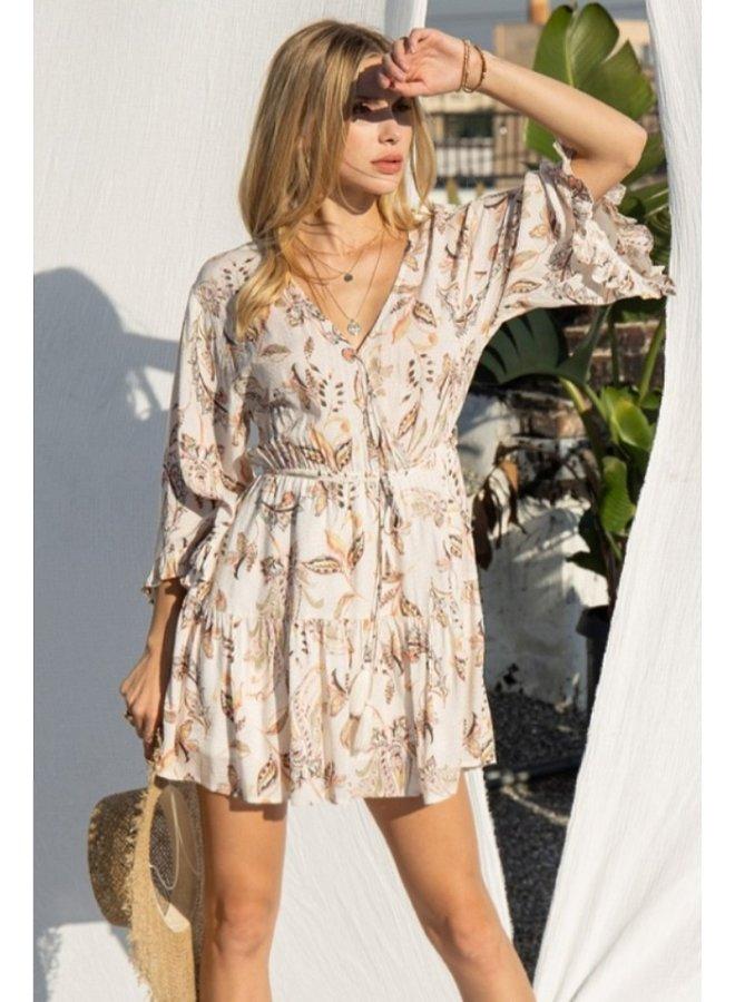 paisley print mini dress