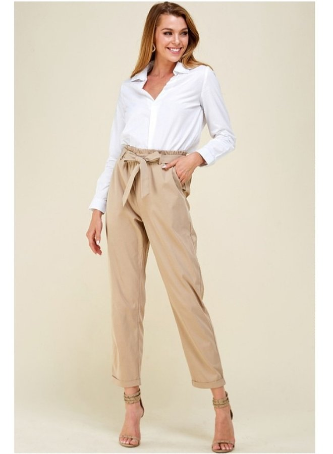belted high waisted pants