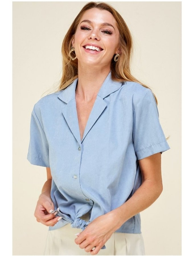 front tie short sleeve shirt