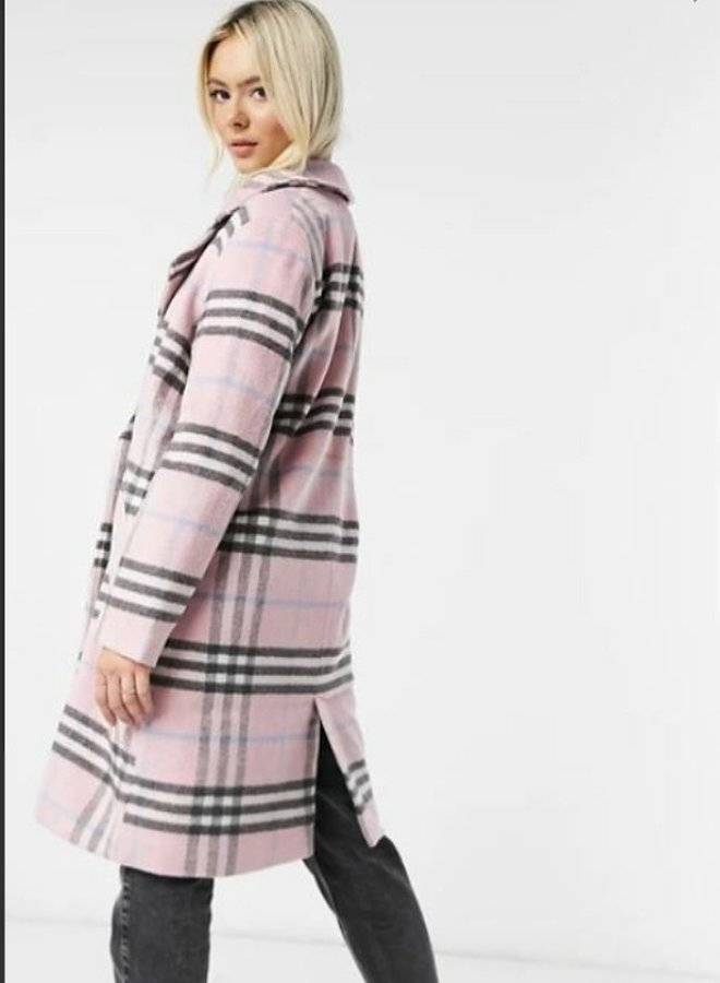 pink tailored check coat in pastel check