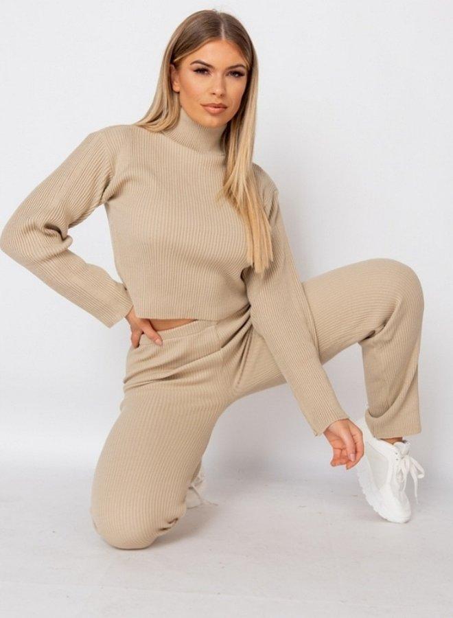 rib  knit loungewear set