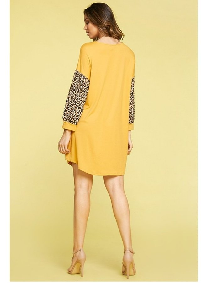 animal print contrast dress with pockets