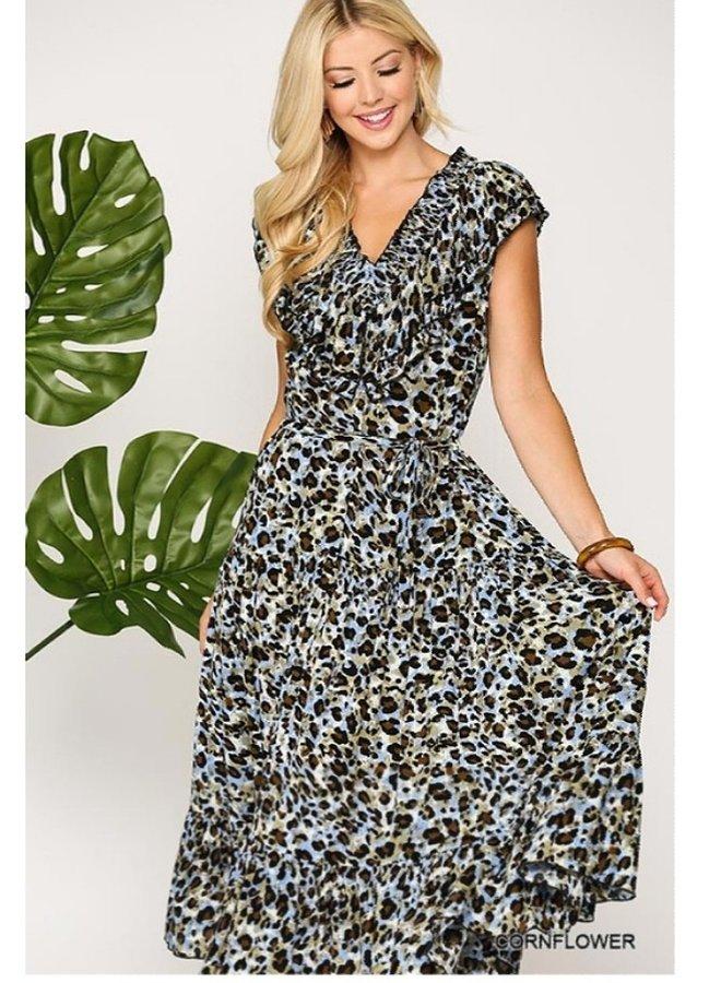 leopard printed smocking midi dress
