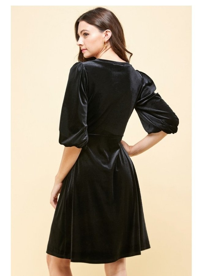 velvet dress with puffed sleeves