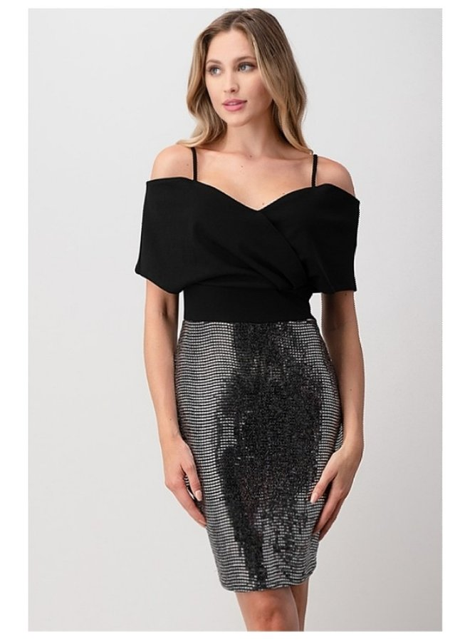 off shoulder trance glitter dress
