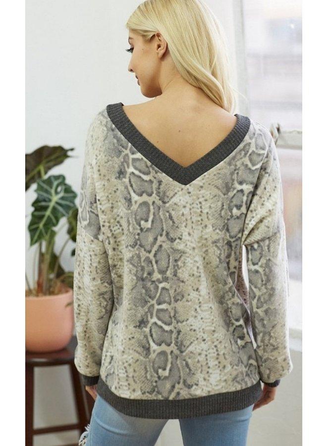 V neck animal print long sleeve top