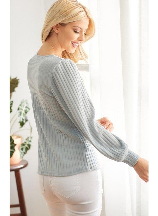 puff shoulder long sleeve top