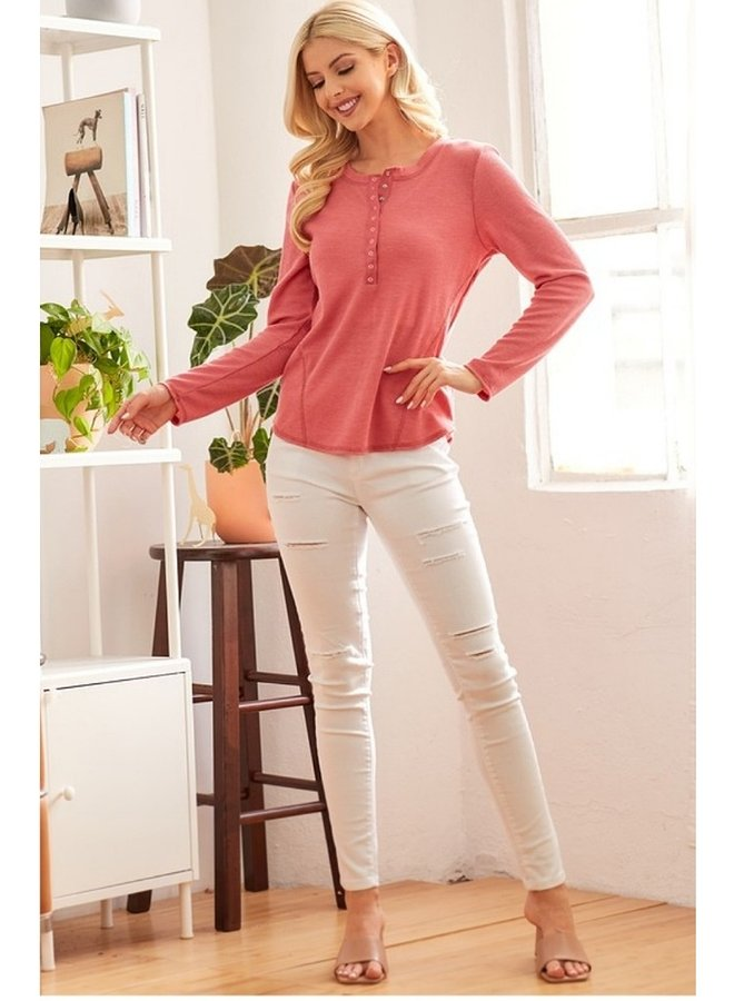 half-buttoned long sleeve top