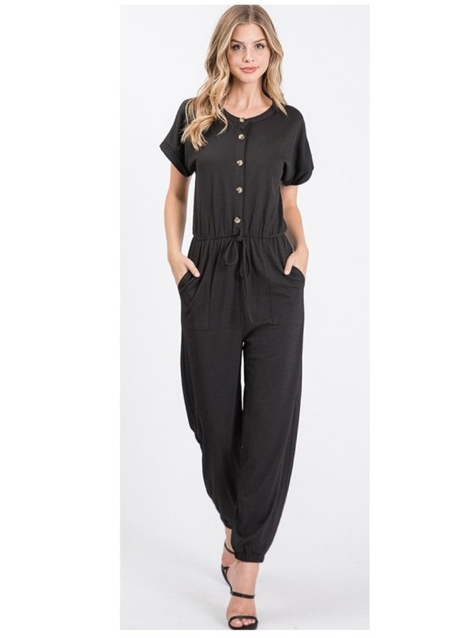short sleeve solid  knit jumpsuit