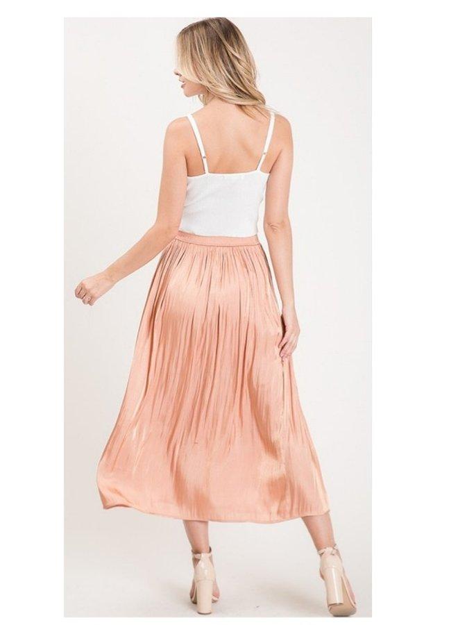 satin high waist midi skirt