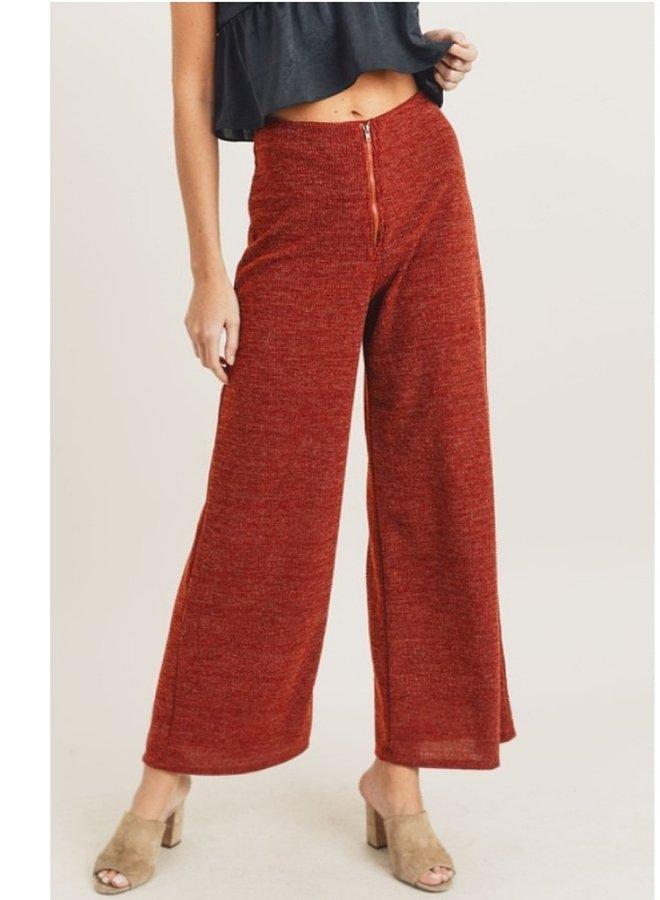 zipper front wide leg pants