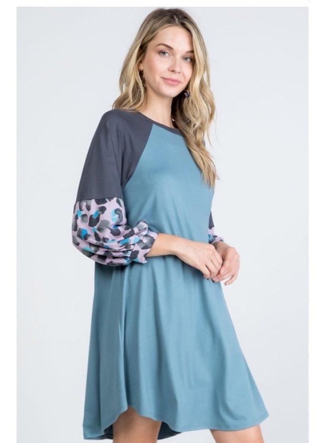 animal print color block dress