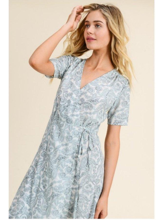 paisley Printed midi wrap dress