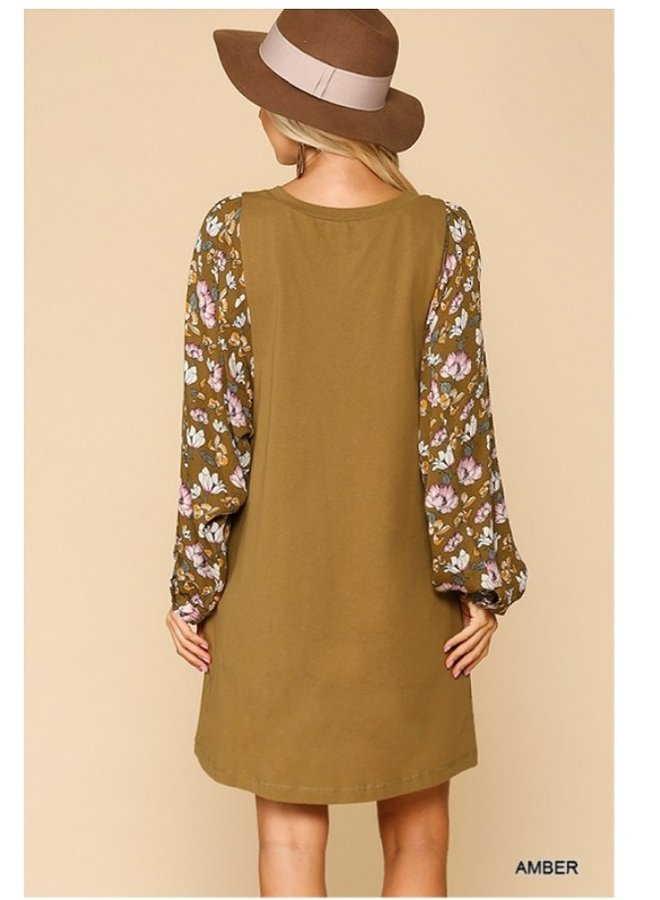 printed dolman sleeve dress