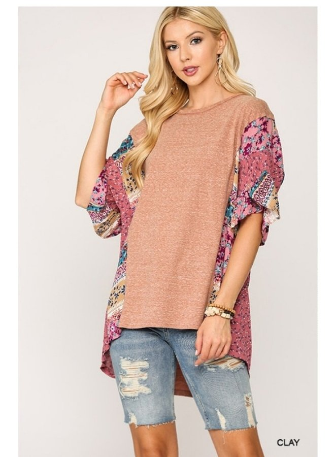 hi-low top with print sleeves