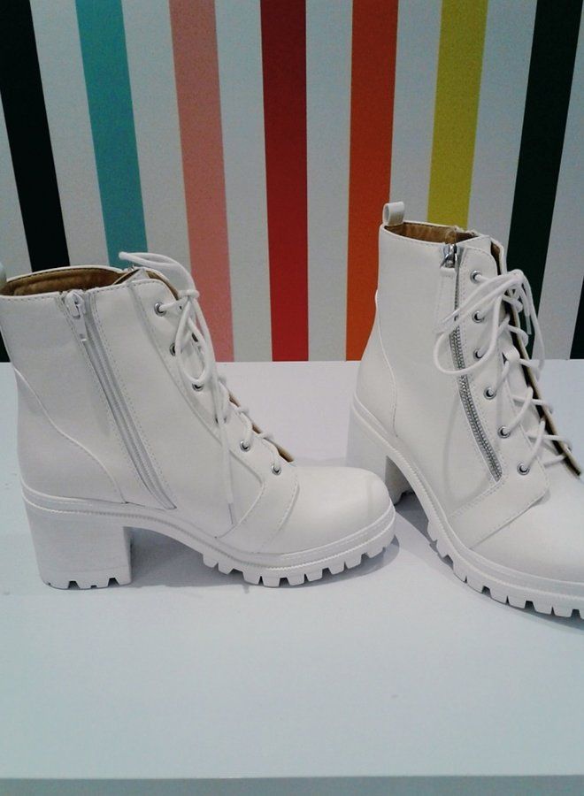 white combat boots