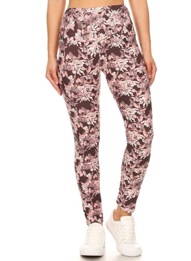 leggings pink flowers with grey
