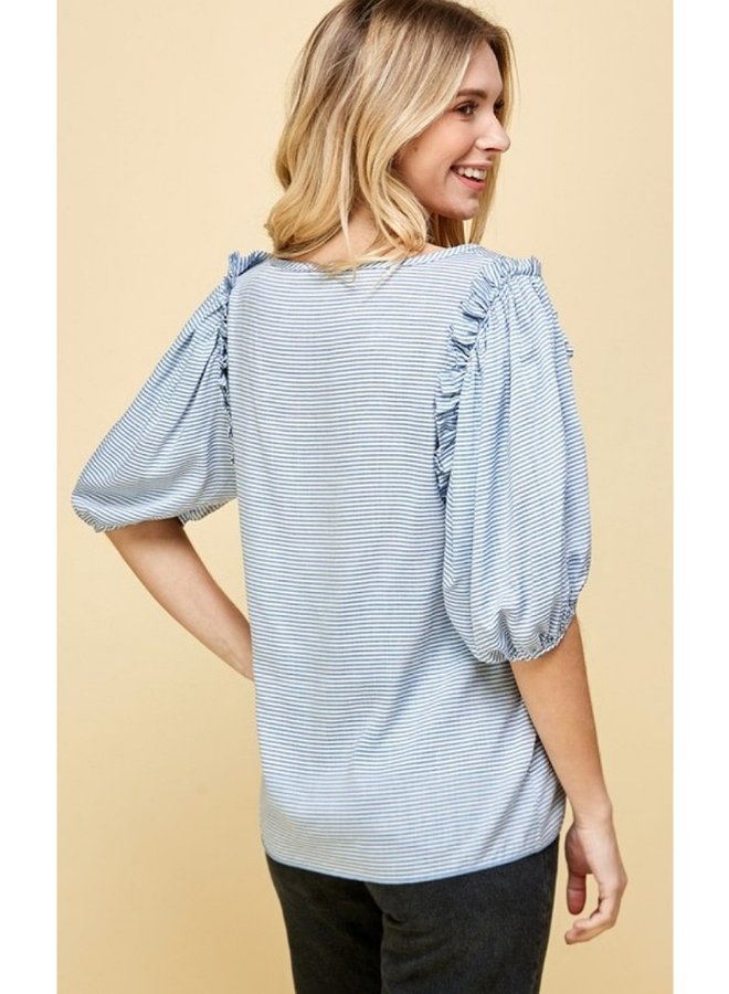 Puff sleeve striped top