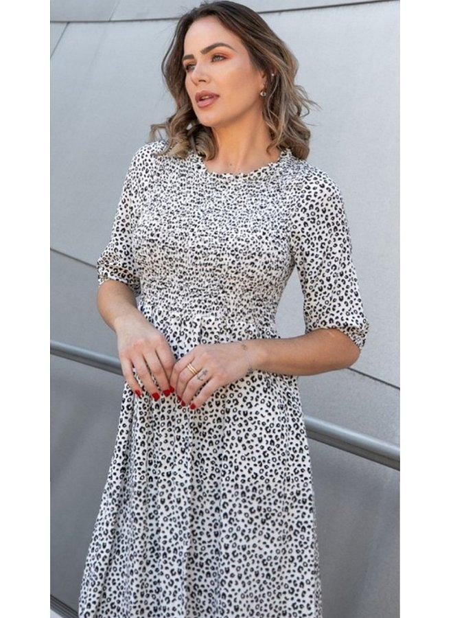 animal print smock dress