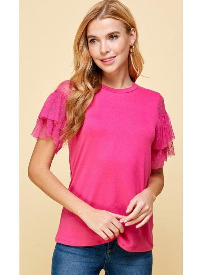 mesh and ruffle  sleeve top