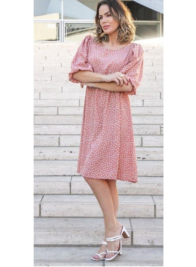 bell sleeve polka dot dress