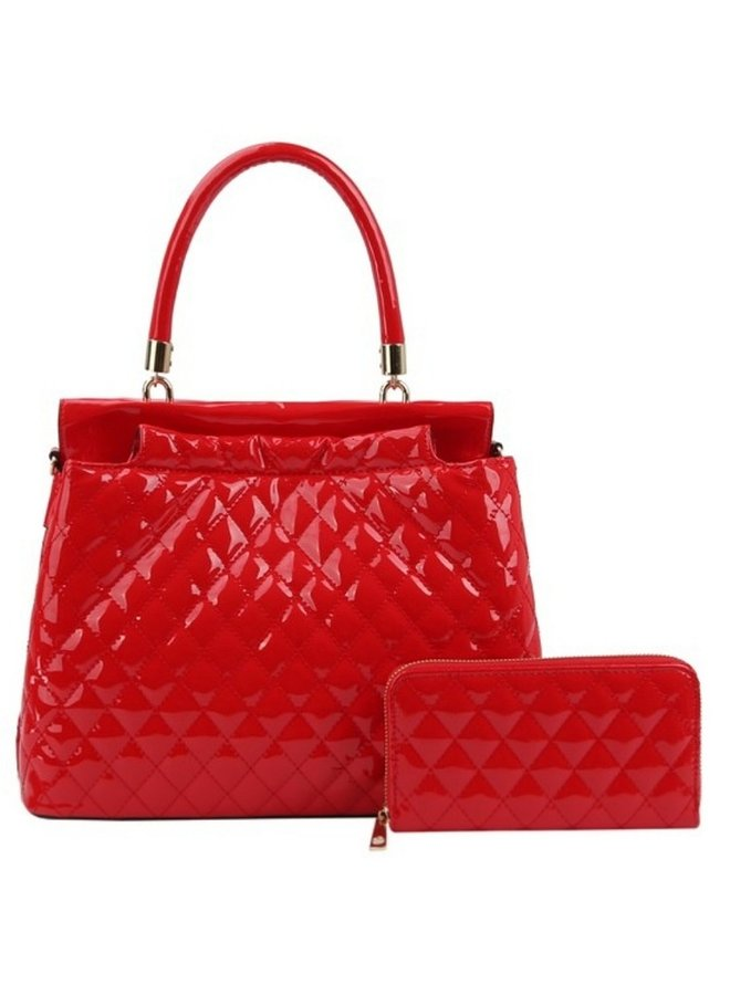 red patent purse with wallet