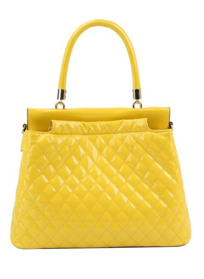 yellow patent quilted purse
