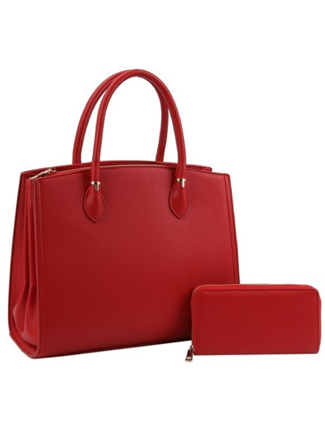 red purse with wallet