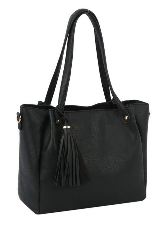 2 in 1 Fashion  tote shoulder bag black