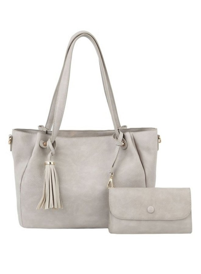 2 in 1 Fashion Tote shoulder bag stone